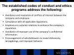 the established codes of conduct and ethics programs address the following