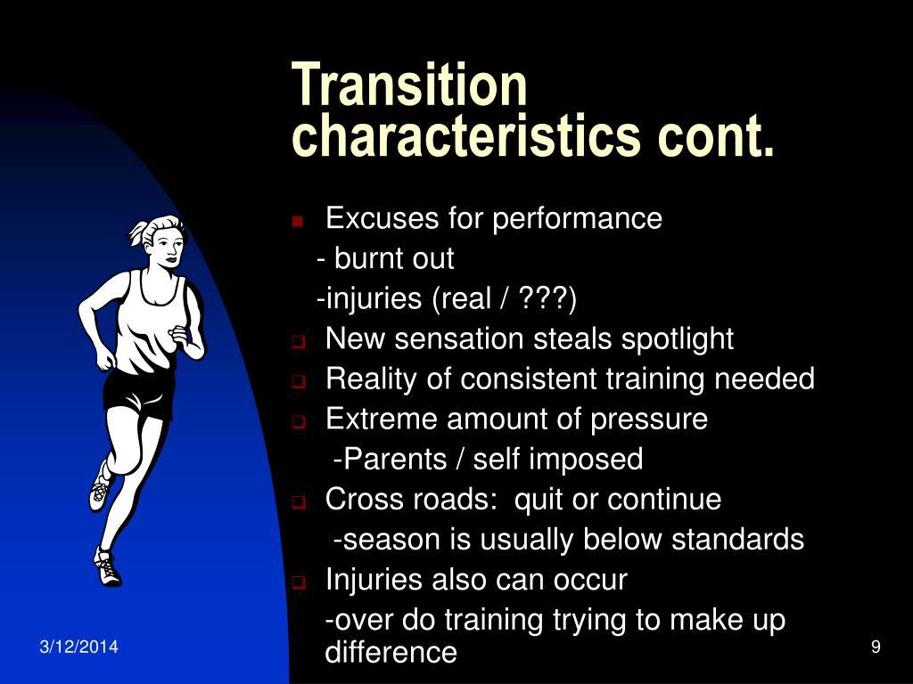 Transition characteristics cont.