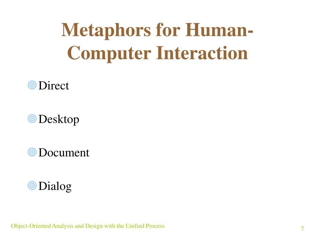 Metaphors for Human-Computer Interaction