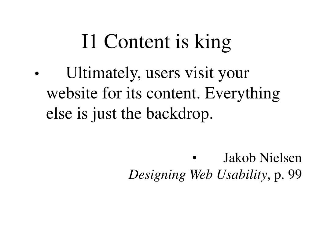 I1 Content is king