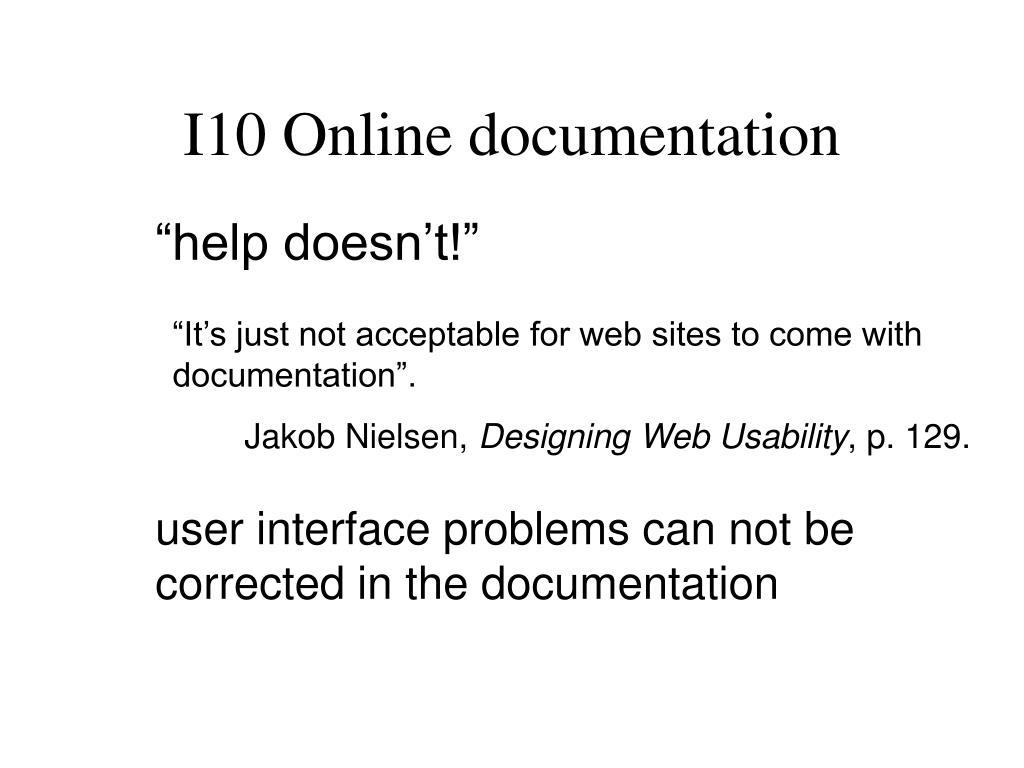 I10 Online documentation