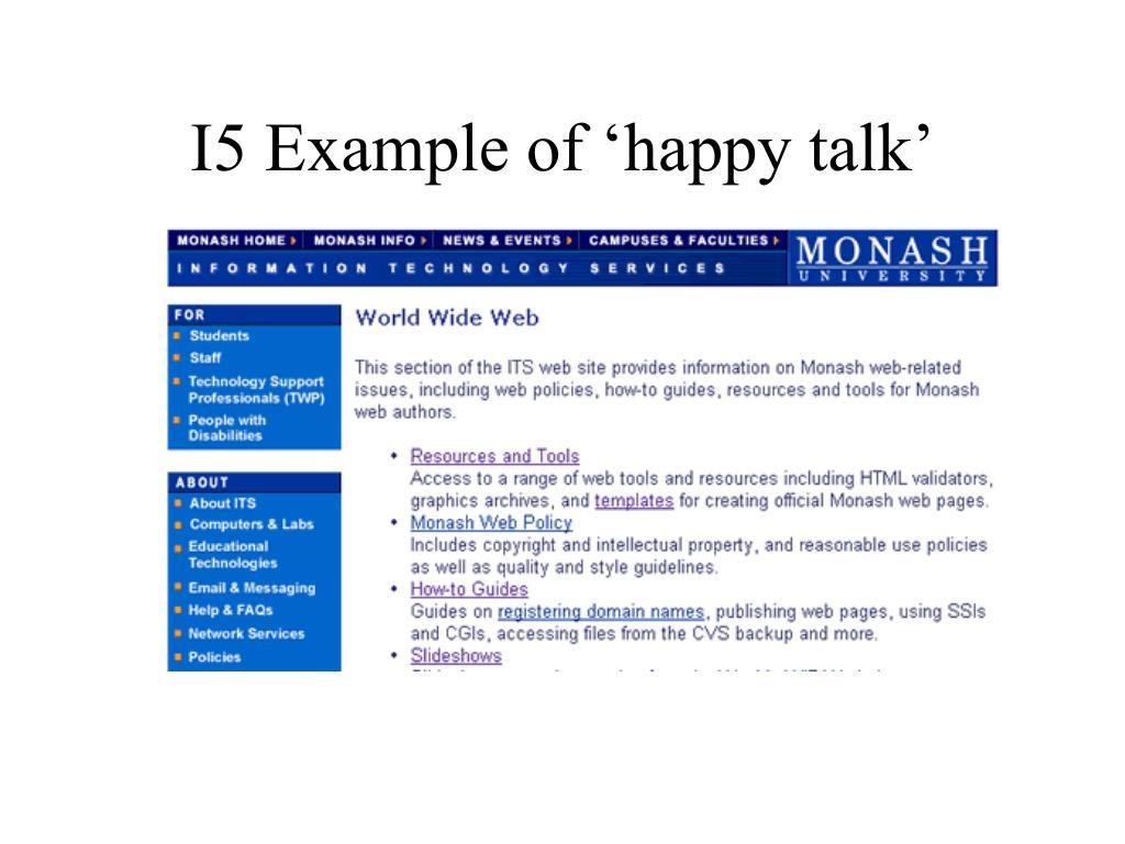 I5 Example of 'happy talk'