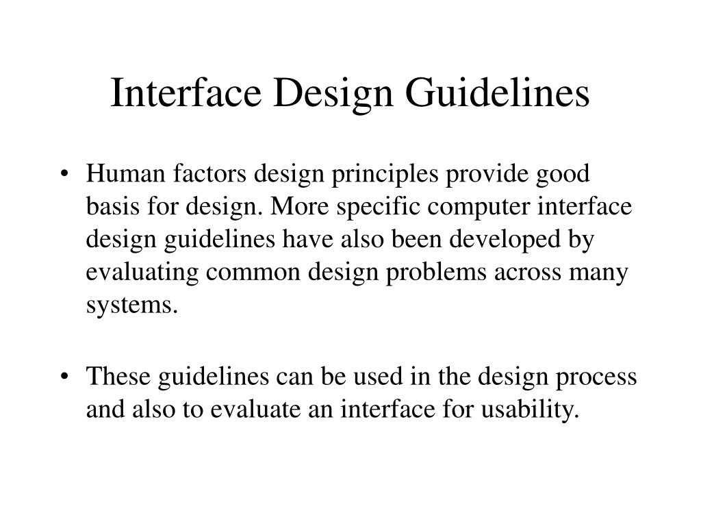 Interface Design Guidelines