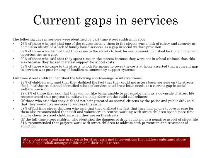 Current gaps in services
