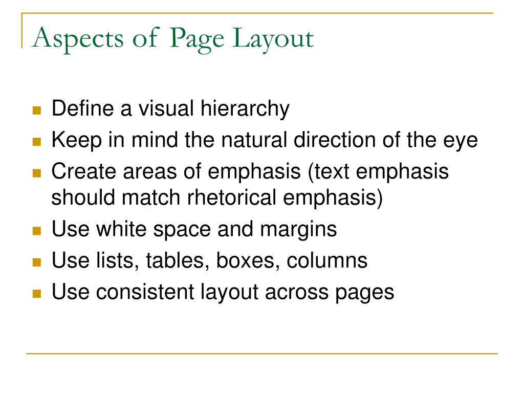 Aspects of Page Layout