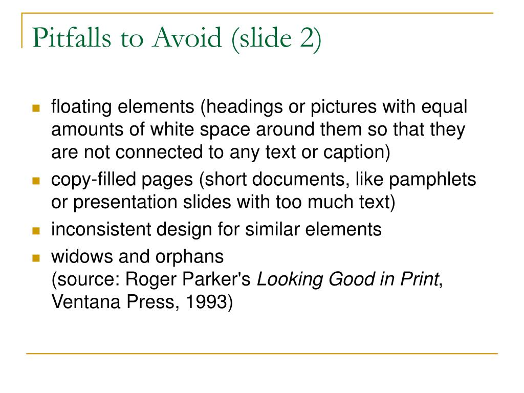 Pitfalls to Avoid (slide 2)