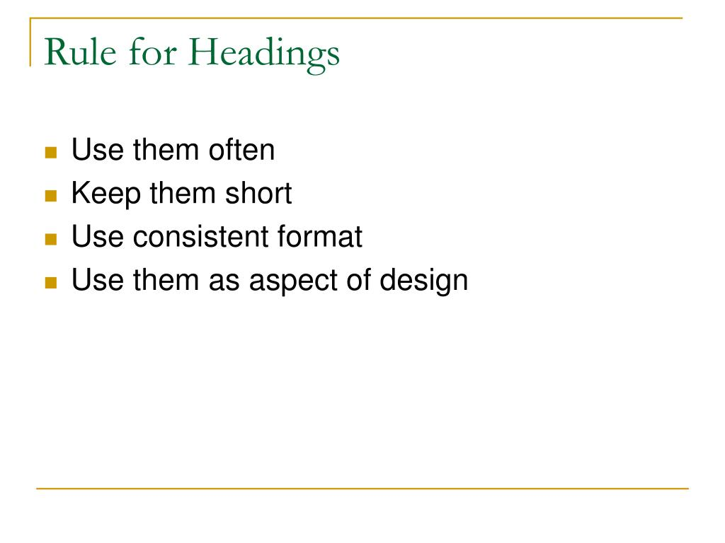 Rule for Headings