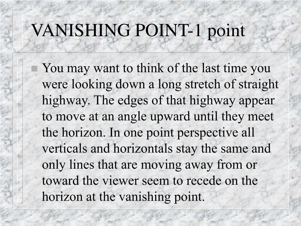 VANISHING POINT-1 point