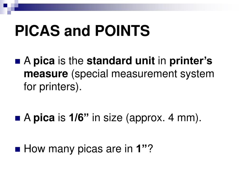PICAS and POINTS