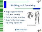 walking and exercising