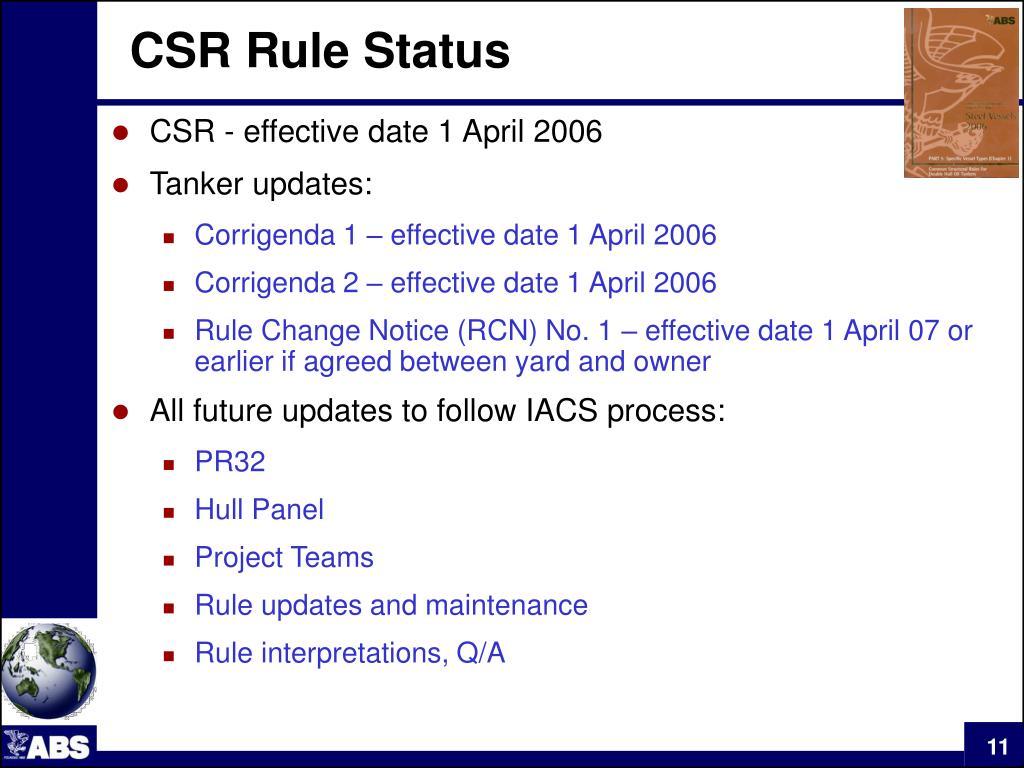 CSR Rule Status