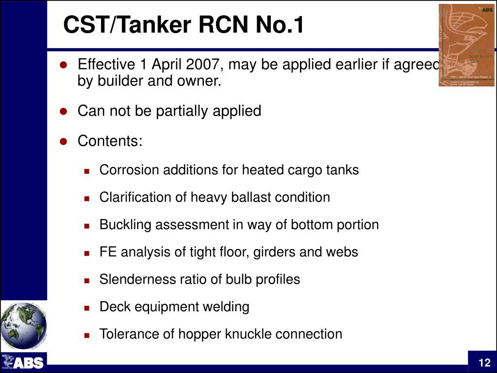 CST/Tanker RCN No.1