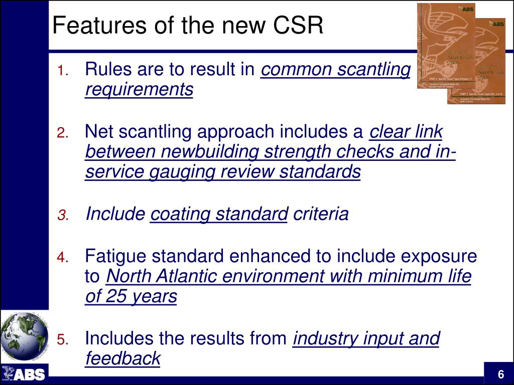 Features of the new CSR