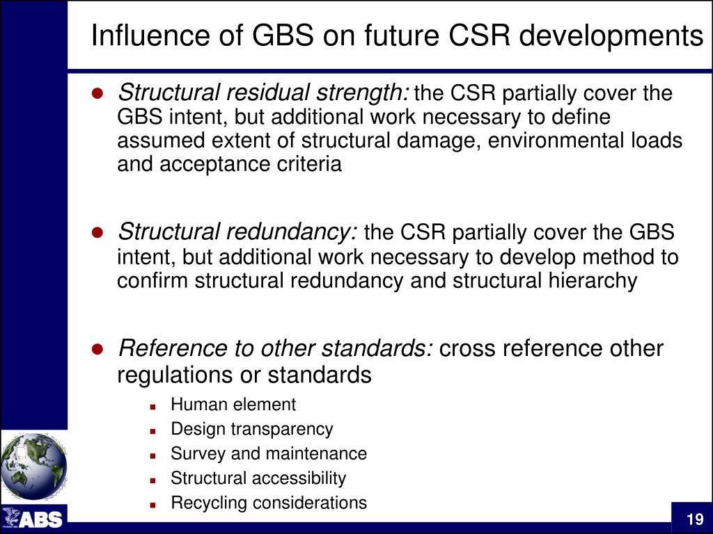 Influence of GBS on future CSR developments