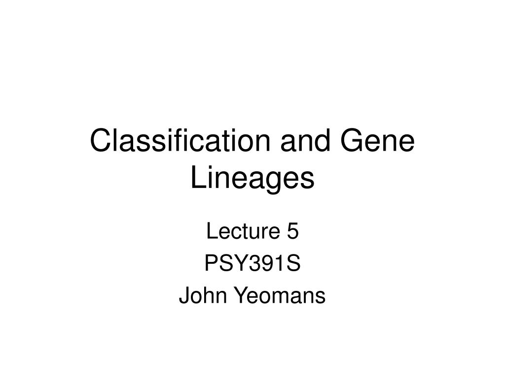 Classification and Gene Lineages