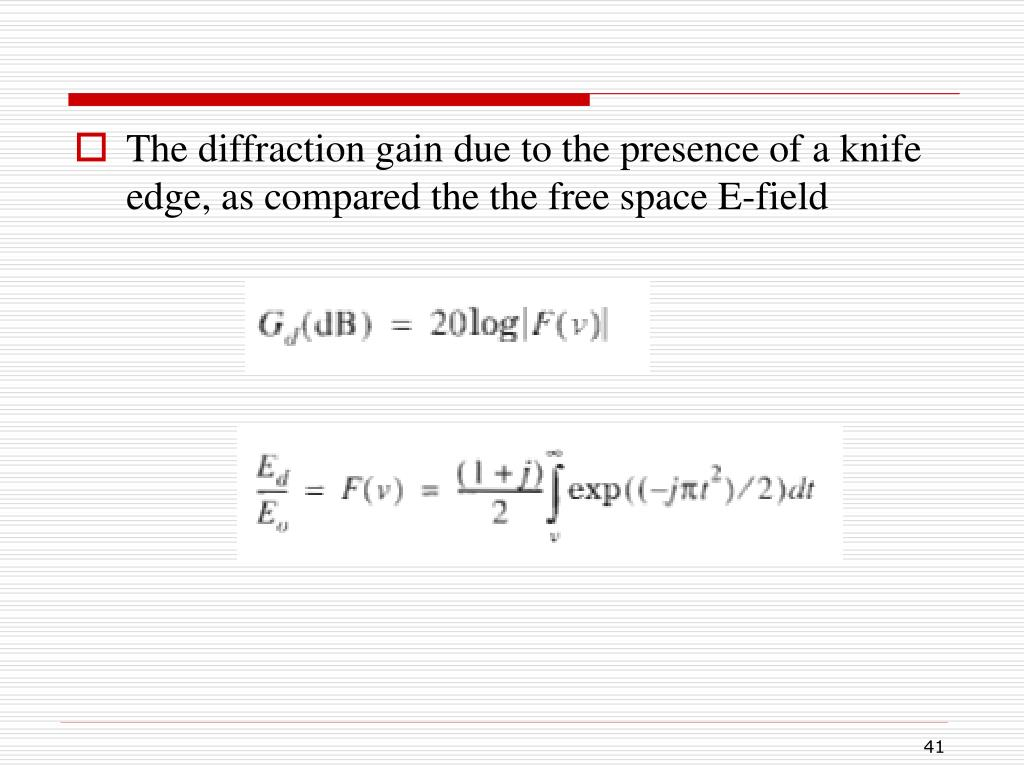 The diffraction gain due to the presence of a knife edge, as compared the the free space E-field