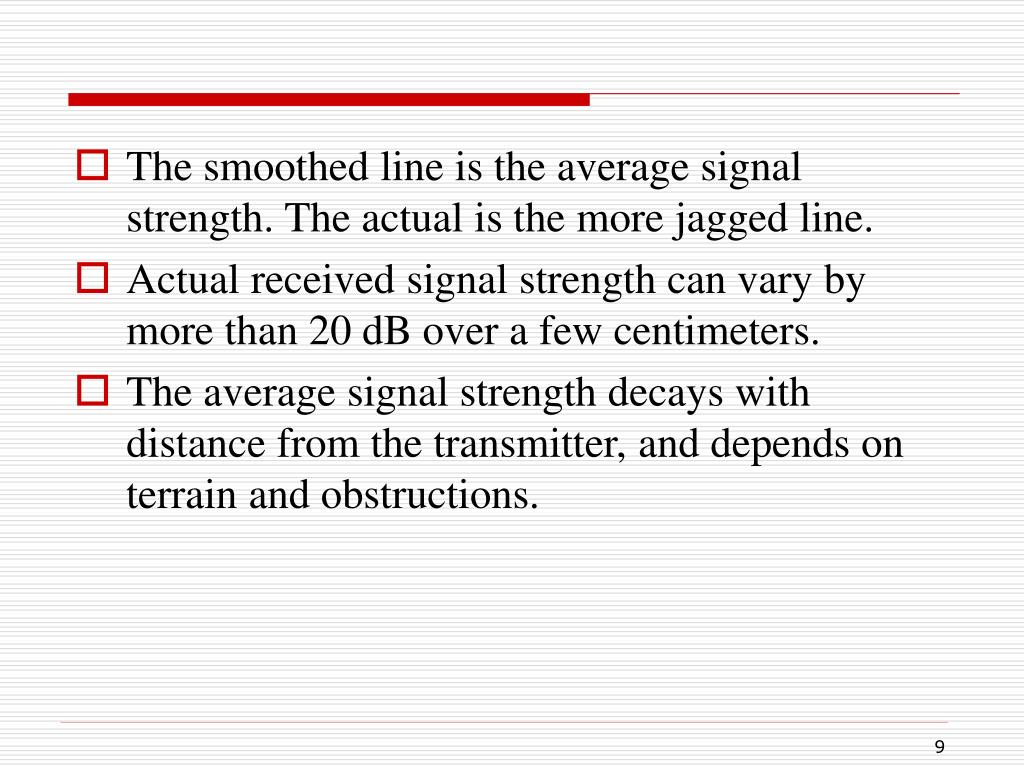 The smoothed line is the average signal strength. The actual is the more jagged line.