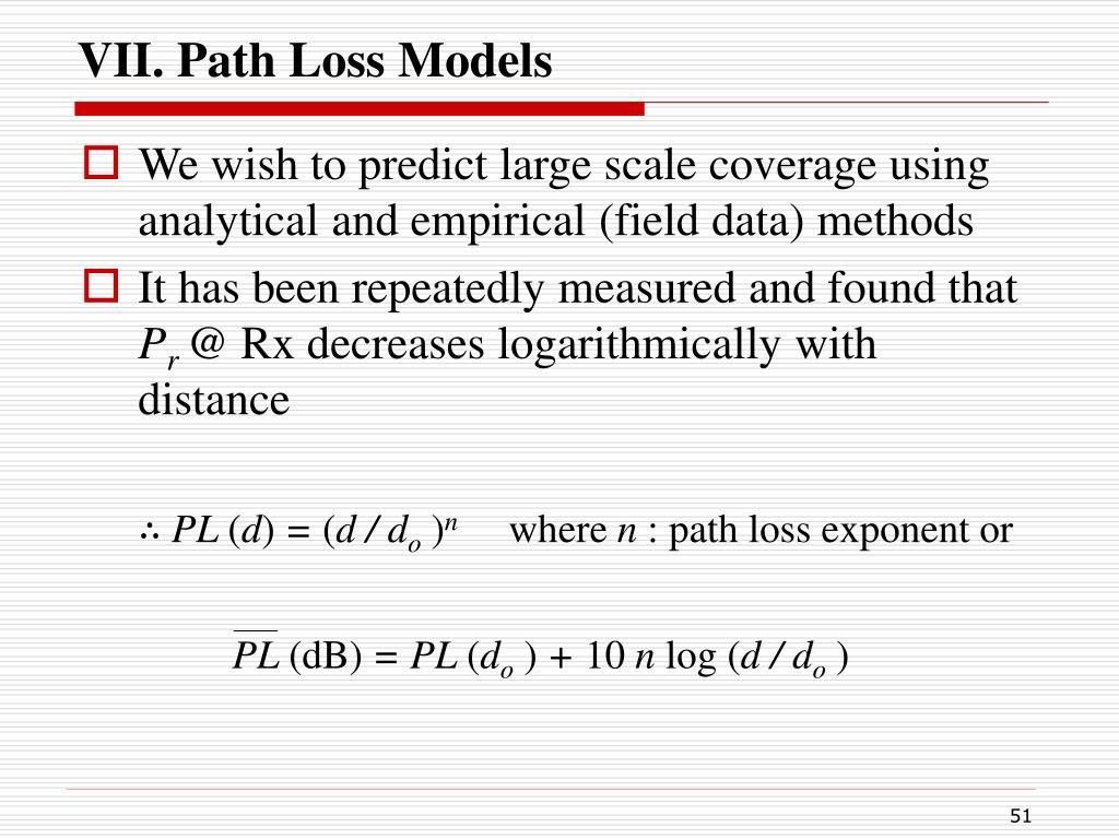 VII. Path Loss Models