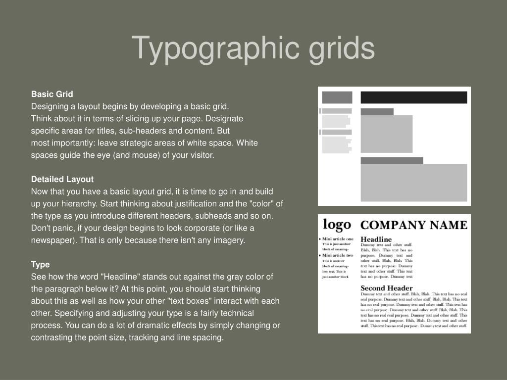 Typographic grids