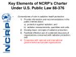 key elements of ncrp s charter under u s public law 88 376