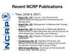 recent ncrp publications7