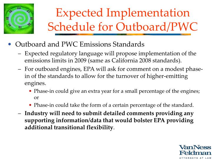 Expected Implementation Schedule for Outboard/PWC