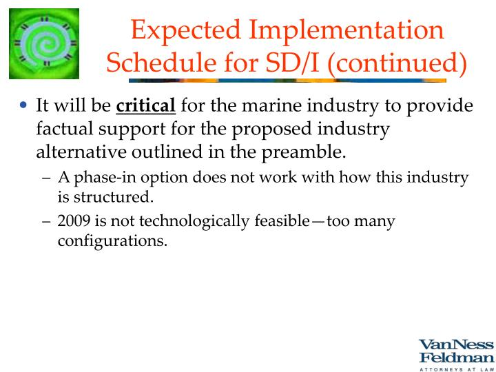 Expected Implementation Schedule for SD/I (continued)