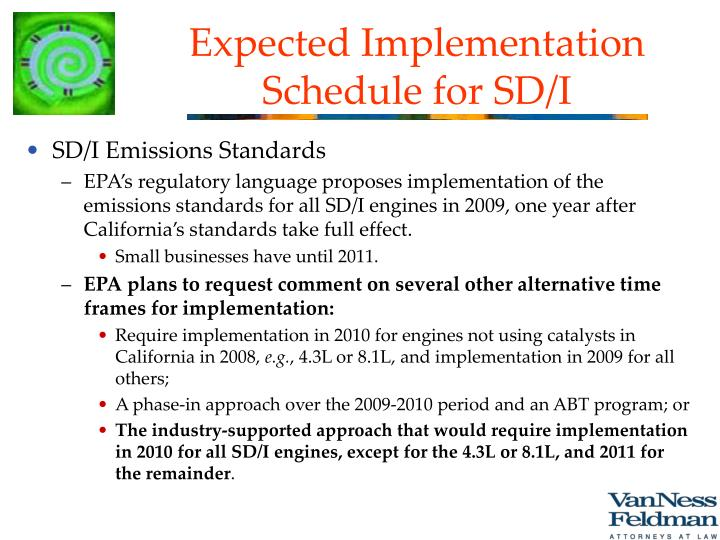 Expected Implementation Schedule for SD/I