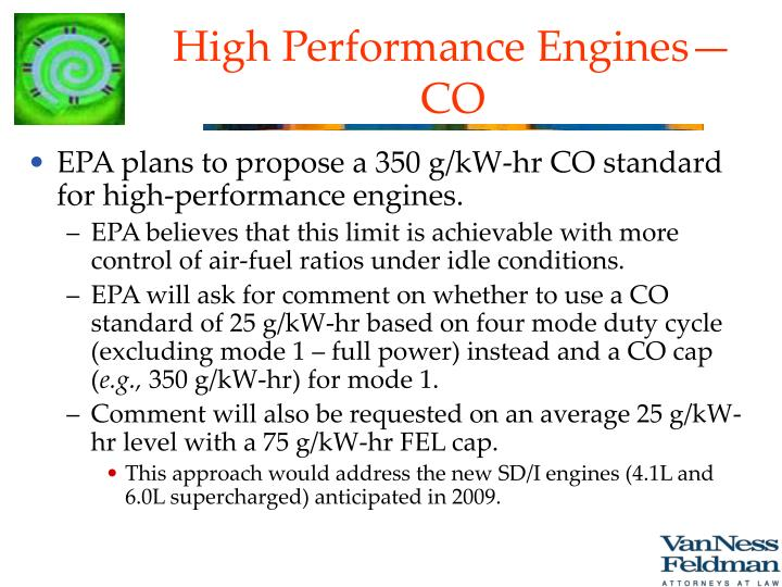 High Performance Engines—CO