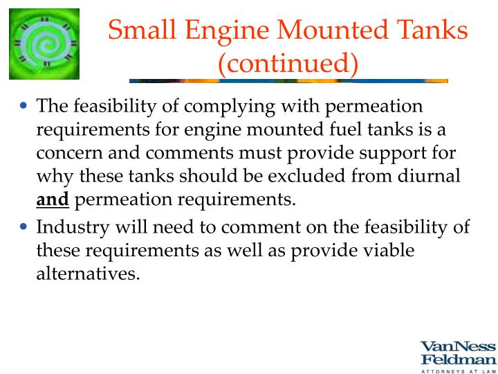 Small Engine Mounted Tanks (continued)