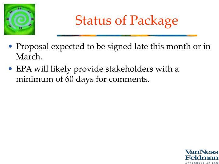 Status of Package