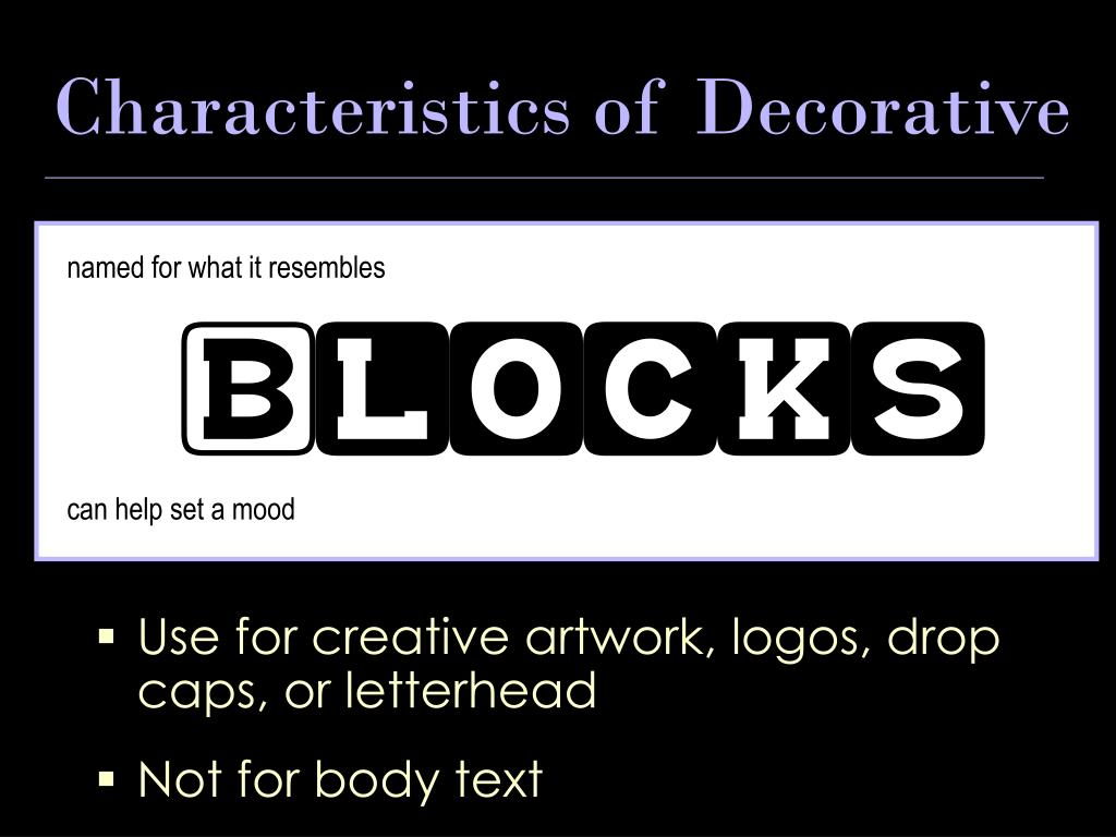 Characteristics of Decorative