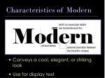 characteristics of modern