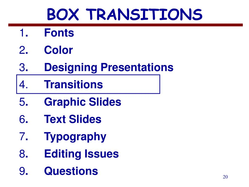 BOX TRANSITIONS