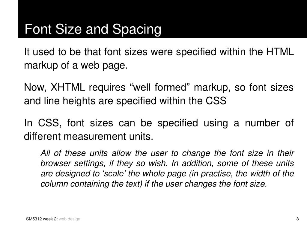 Font Size and Spacing
