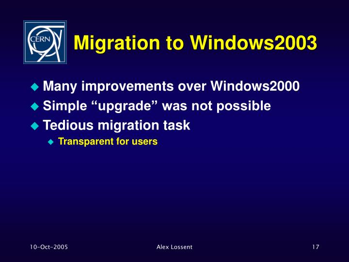 Migration to Windows2003