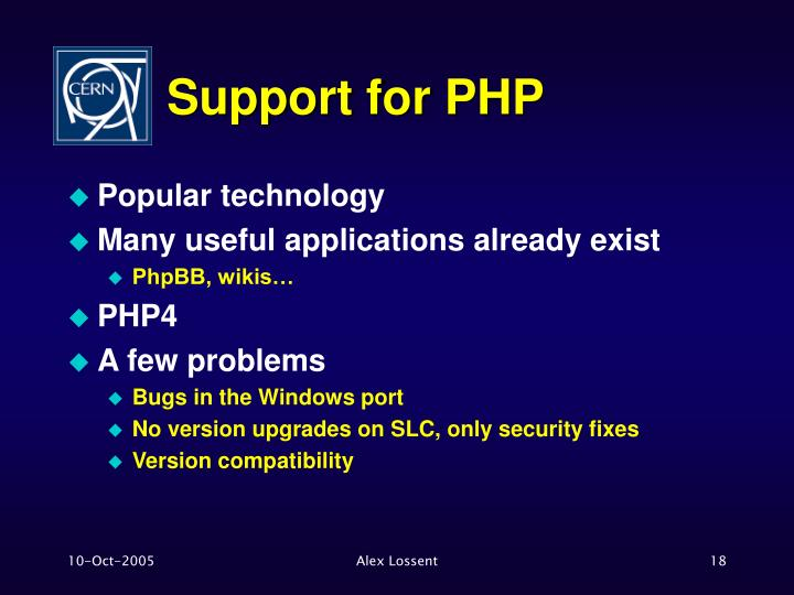 Support for PHP