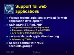 support for web applications