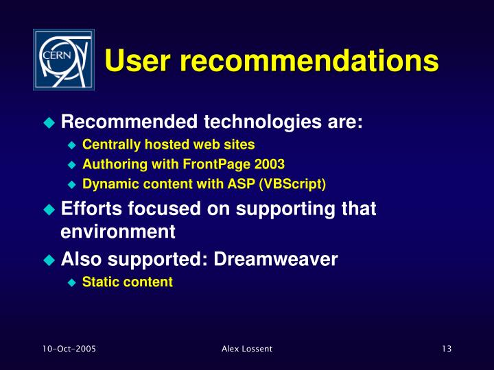 User recommendations