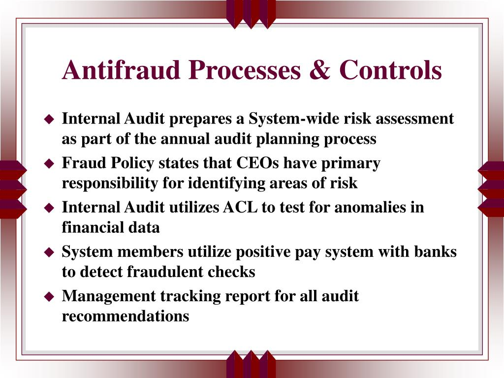Antifraud Processes & Controls