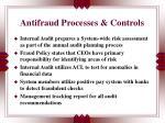 antifraud processes controls