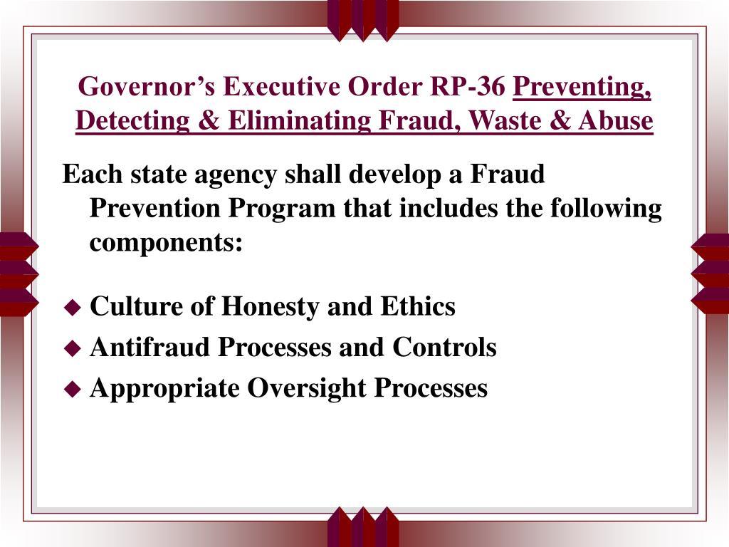 Governor's Executive Order RP-36