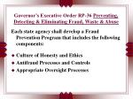 governor s executive order rp 36 preventing detecting eliminating fraud waste abuse