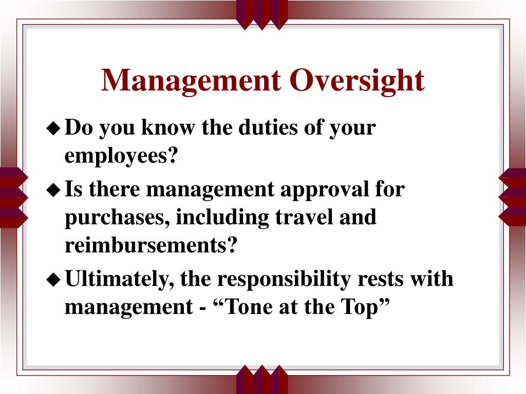 Management Oversight