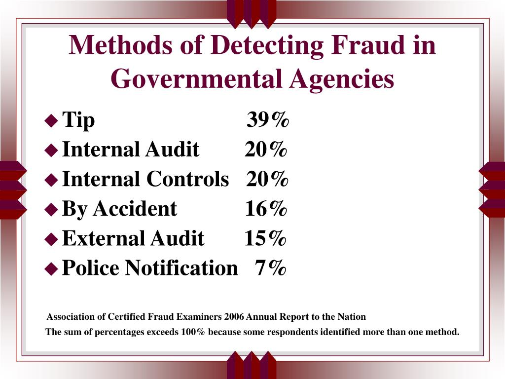 Methods of Detecting Fraud in Governmental Agencies