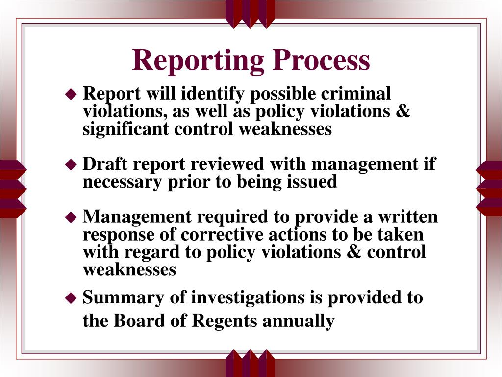 Reporting Process