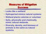 measures of mitigation success