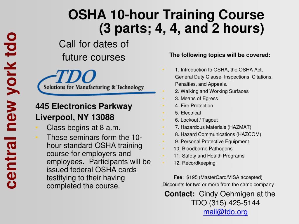 osha 10 hour training course 3 parts 4 4 and 2 hours