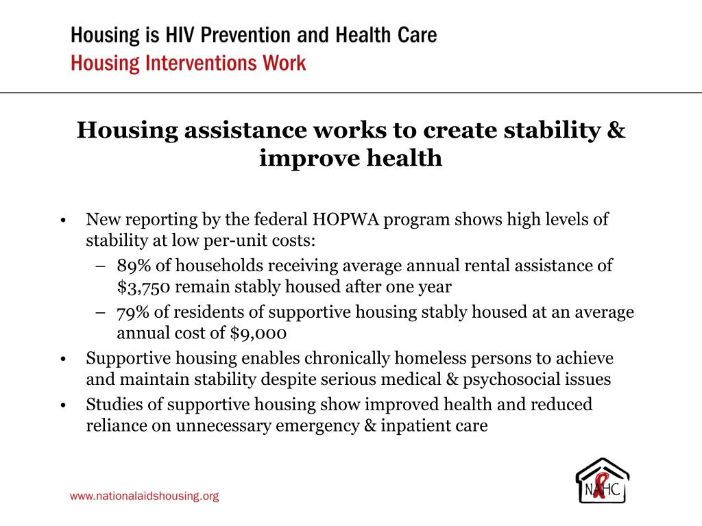 Housing assistance works to create stability & improve health