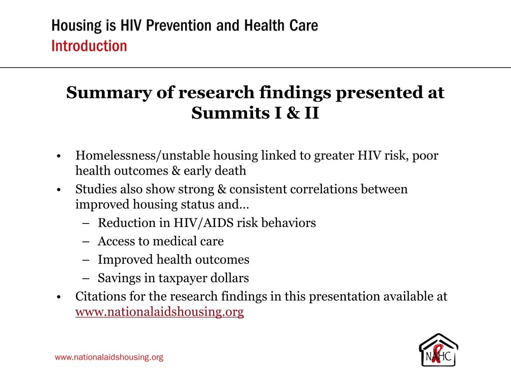 Summary of research findings presented at